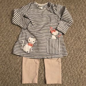 Baby Girl Long-Sleeve Stripped Cat Outfit